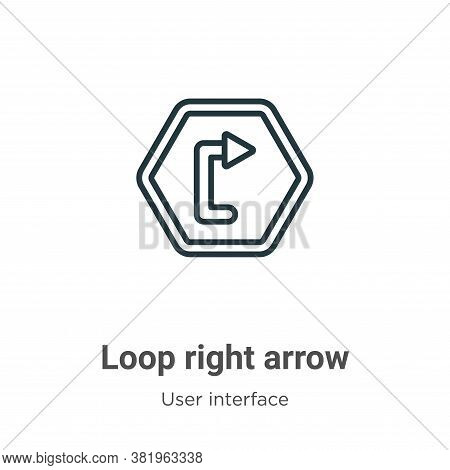 Loop right arrow outline icon isolated on white background from user interface collection. Loop righ