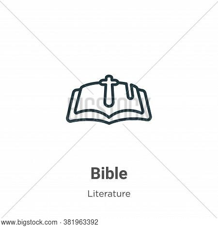 Bible icon isolated on white background from literature collection. Bible icon trendy and modern Bib