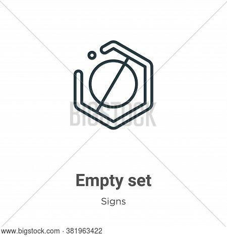 Empty set symbol icon isolated on white background from signs collection. Empty set symbol icon tren