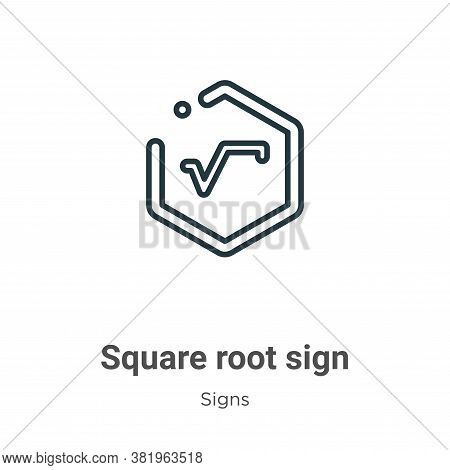 Square root sign icon isolated on white background from signs collection. Square root sign icon tren