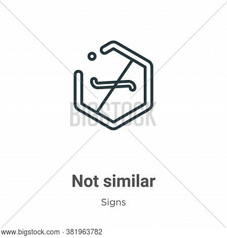 Not similar symbol icon isolated on white background from signs collection. Not similar symbol icon