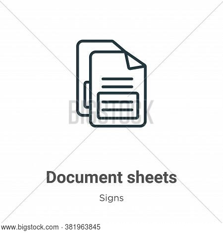 Document sheets icon isolated on white background from signs collection. Document sheets icon trendy