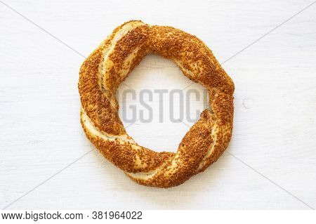 Crispy Turkish Traditional Bagel / Simit With Sesame On Wooden Rustic Background, Turkish Breakfast