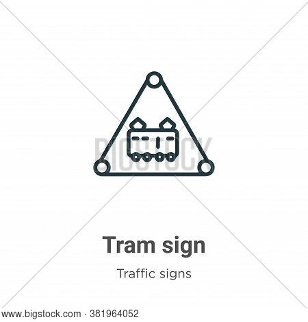 Tram sign icon isolated on white background from traffic signs collection. Tram sign icon trendy and