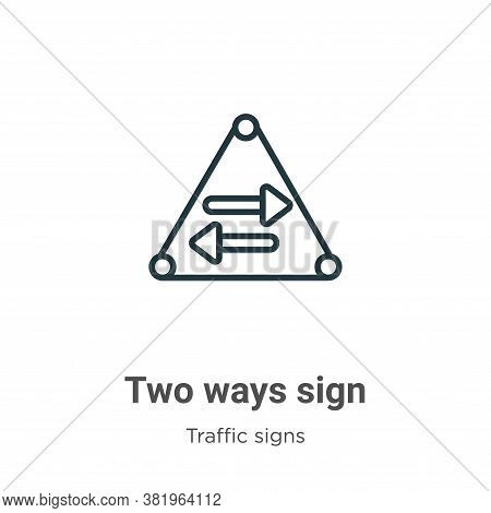 Two ways sign icon isolated on white background from traffic signs collection. Two ways sign icon tr