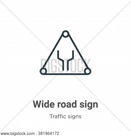 Wide road sign icon isolated on white background from traffic signs collection. Wide road sign icon