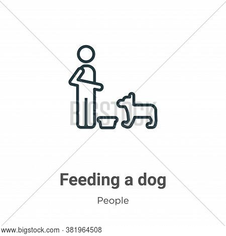 Feeding a dog icon isolated on white background from people collection. Feeding a dog icon trendy an