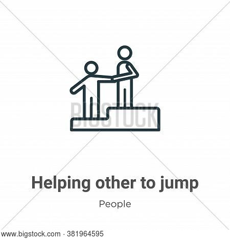 Helping other to jump icon isolated on white background from people collection. Helping other to jum