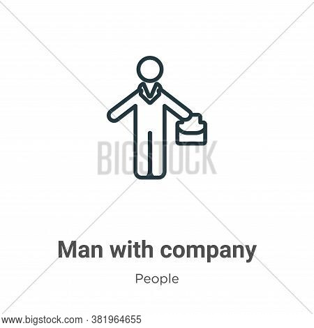 Man with company icon isolated on white background from people collection. Man with company icon tre