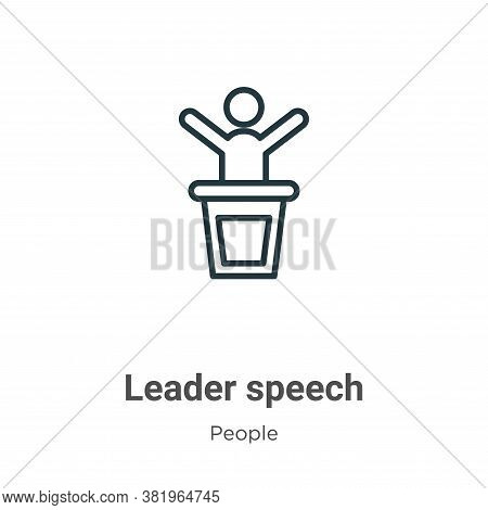 Leader speech icon isolated on white background from people collection. Leader speech icon trendy an