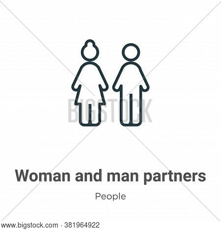 Woman and man partners icon isolated on white background from people collection. Woman and man partn