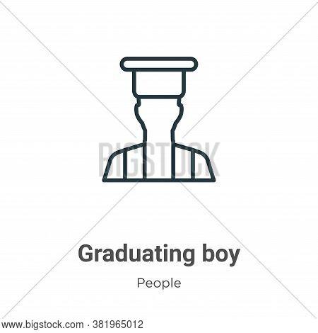 Graduating boy icon isolated on white background from people collection. Graduating boy icon trendy