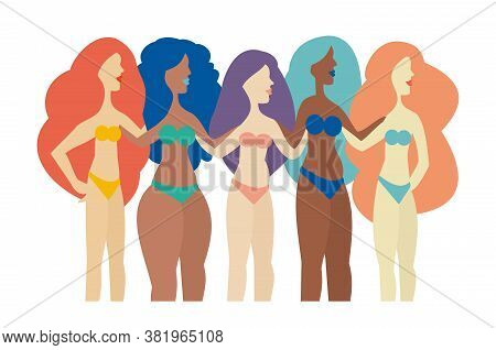 Group Of Women With Different Shapes Embracing Their Bodies  - Body Positive Concept