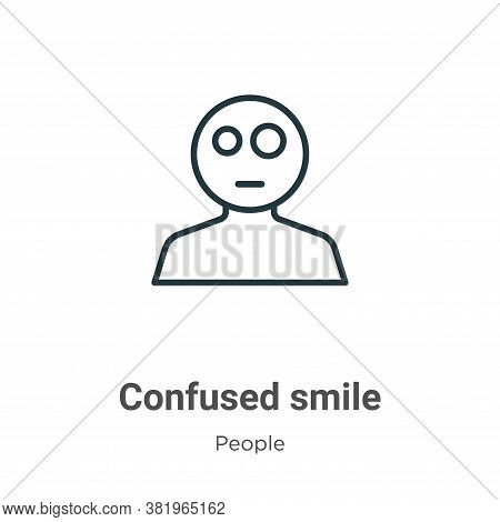 Confused smile icon isolated on white background from people collection. Confused smile icon trendy