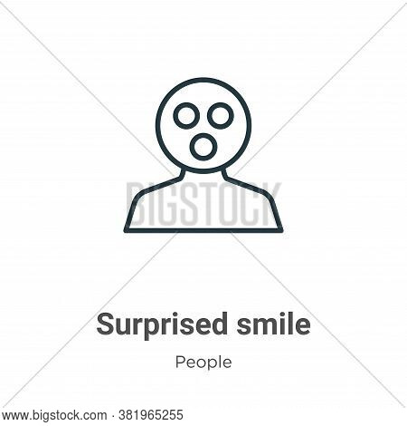 Surprised smile icon isolated on white background from people collection. Surprised smile icon trend