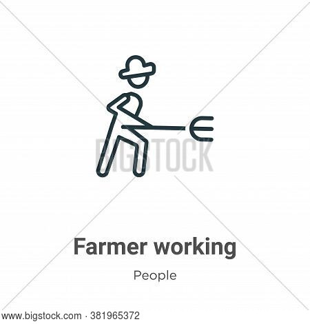 Farmer working icon isolated on white background from people collection. Farmer working icon trendy