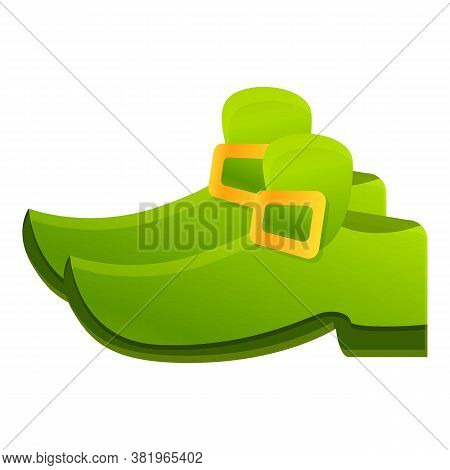 Irish Green Shoes Icon. Cartoon Of Irish Green Shoes Vector Icon For Web Design Isolated On White Ba