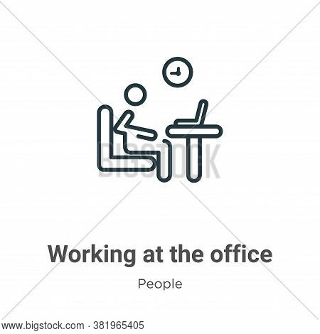 Working at the office icon isolated on white background from people collection. Working at the offic