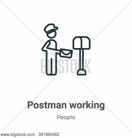 Postman working icon isolated on white background from people collection. Postman working icon trend