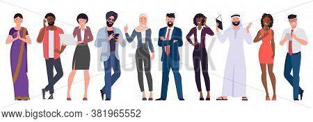 Flat Design Vector Set Of Multicultural, Black, Caucasian, Arab, Muslim And Indian People Characters