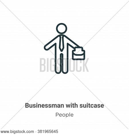 Businessman with suitcase icon isolated on white background from people collection. Businessman with