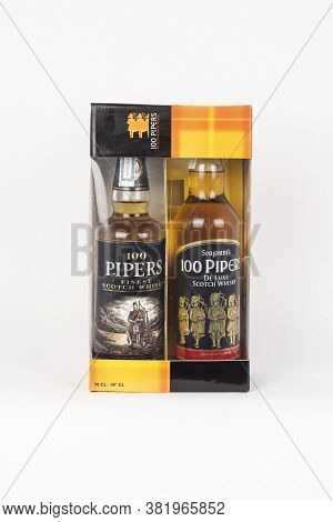 Palma, Mallorca, Spain - April 22 2019: Seagram's 100 Pipers Finest And De Luxe Scotch Whisky Bottle