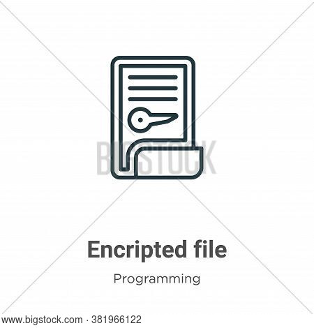 Encripted file icon isolated on white background from programming collection. Encripted file icon tr