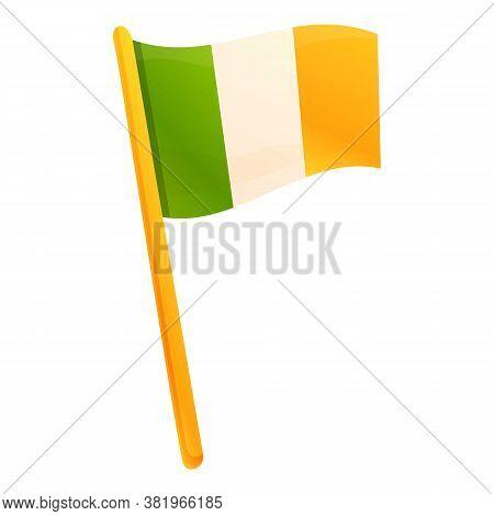 Irish Flag Icon. Cartoon Of Irish Flag Vector Icon For Web Design Isolated On White Background