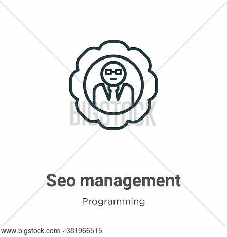Seo management icon isolated on white background from programming collection. Seo management icon tr