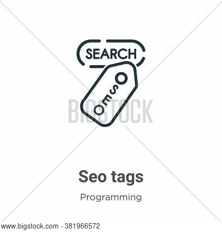 Seo tags icon isolated on white background from programming collection. Seo tags icon trendy and mod