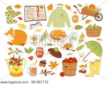 Set Of Cute Autumn Animal Characters, Plants And Food Vector Illustration. Fall Season. Fox, Pumpkin