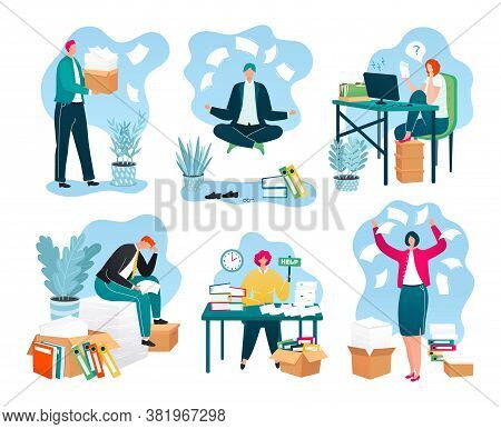 Business Papers In Office, Piles Of Documents, Reports On Workplace, Paperwork Set Of Vector Illustr