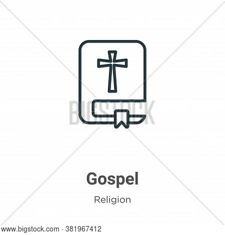 Gospel icon isolated on white background from religion collection. Gospel icon trendy and modern Gos