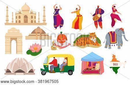 Travel To India, Indian Landmark Tourism Set Of Vector Illustrations. Taj Mahal Building Architectur