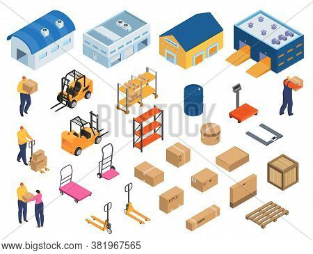 Isometric Warehouse, Industrial Equipment For Storage And Distribution, Set Of Isolated Vector Illus