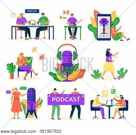 Audio Podcast, People With Microphone And Headset, Media Set Of Isolated Vector Illustrations. Podca