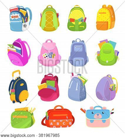 School Backpacks, Set Of Kids School Bags Isolated On White Vector Illustrations. Sacks, Rucksacks,