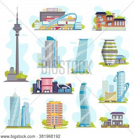 Modern City Buildings And Architecture, Private Houses, Urban Skyscrapers, Real Estate Or Public Bui