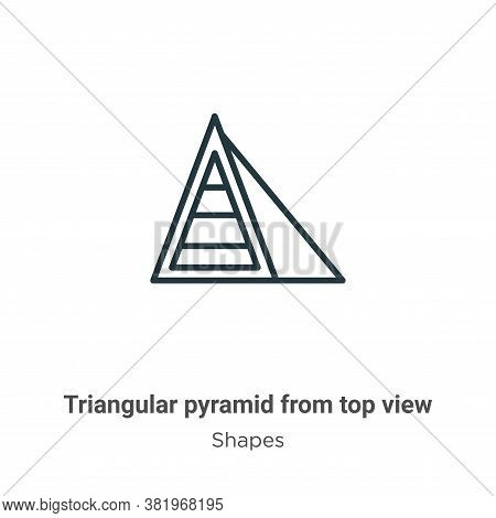 Triangular pyramid from top view icon isolated on white background from top view icon from top view