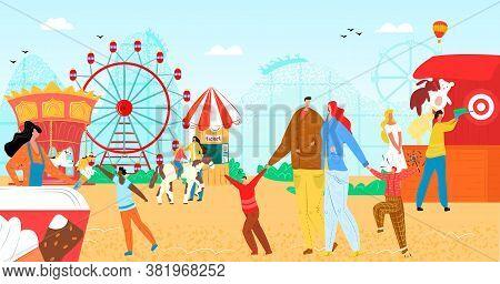 Amusement Park With Fun Flat Carousel Vector Illustration. Vacation Entertainment, Fair Wheel At Car