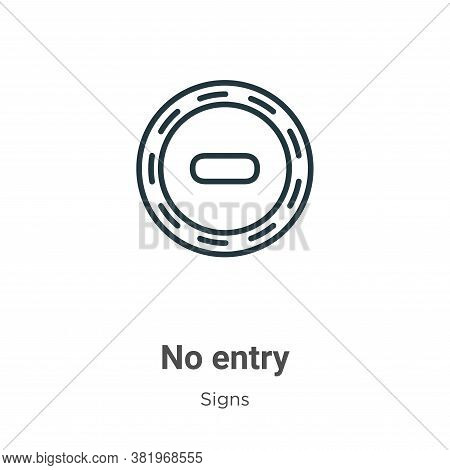 No entry icon isolated on white background from signs collection. No entry icon trendy and modern No
