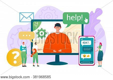 Business Customer Help Service, Vector Illustration. Online Support Assistant At Smartphone, Man In