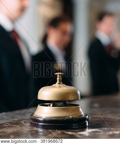 Hotel Service Bell Concept Hotel, Travel, Room, Modern Luxury Hotel Reception Counter Desk On Backgr
