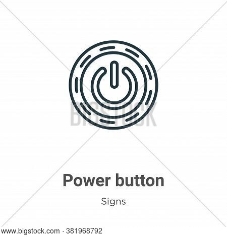 Power button icon isolated on white background from signs collection. Power button icon trendy and m