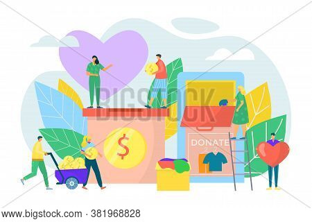 Donate Box Concept Flat Donation Charity Help Vector Illustration. People Character Giving Money Coi