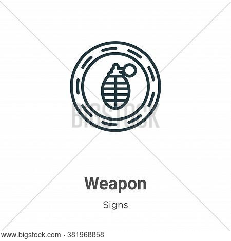 Weapon icon isolated on white background from signs collection. Weapon icon trendy and modern Weapon
