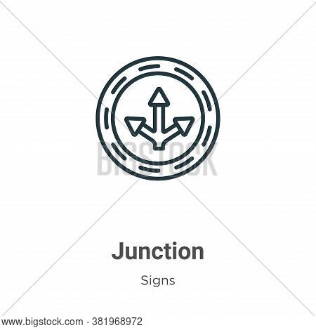 Junction icon isolated on white background from signs collection. Junction icon trendy and modern Ju