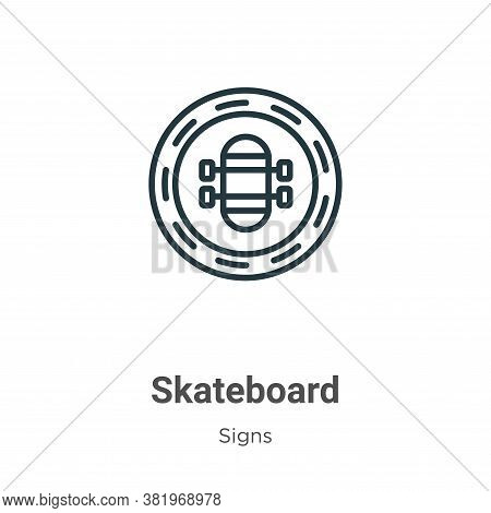 Skateboard icon isolated on white background from signs collection. Skateboard icon trendy and moder
