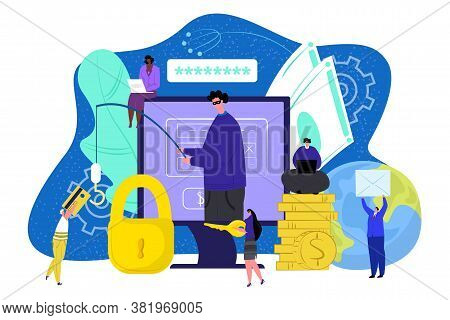 Computer Thief Technology, Internet Security Hacker Vector Illustration. Password Virus For Money Fr