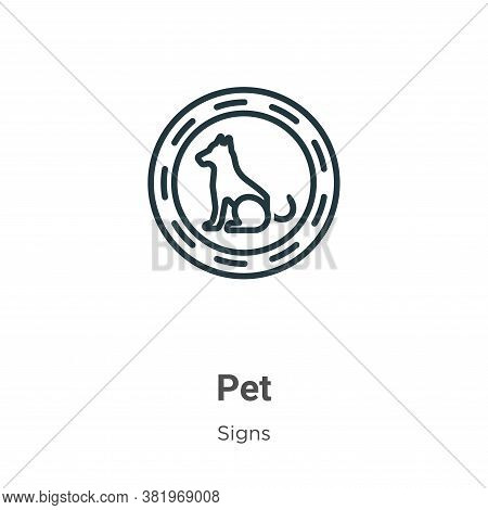 Pet icon isolated on white background from signs collection. Pet icon trendy and modern Pet symbol f